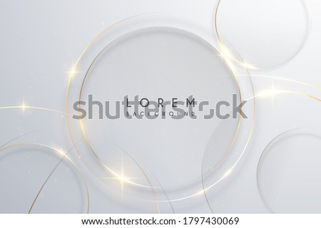 Abstract gold circle lines on white background