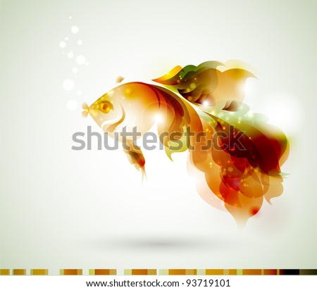 abstract  gold fish for design