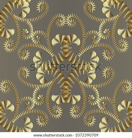 abstract gold floral 3d