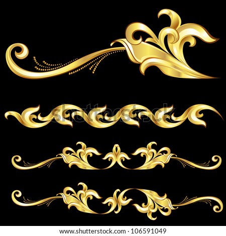 Abstract Gold Frame.  Illustration on black background - stock vector