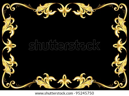 Abstract Gold Frame.  Illustration on black background for design