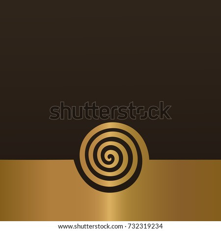 Abstract gold spiral background design. Swirl golden element isolated vector concept.