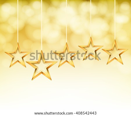abstract gold stars on ropes