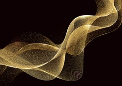 Abstract Gold Waves Design. Shiny golden moving lines design element with glitter effect on dark background for Business card. Vector Illustration