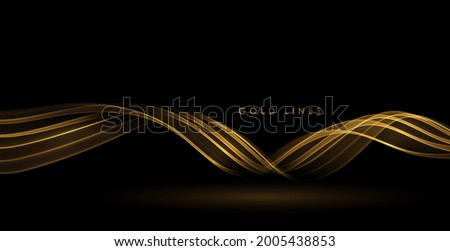 Abstract Gold Waves. Shiny golden moving lines design element on dark background for greeting card and disqount voucher.