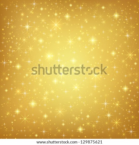Abstract golden background with sparkling twinkling stars Gold Cosmic atmosphere illustration