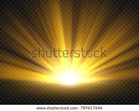 Abstract golden bright light. Gold shine burst vector illustration isolated. Bright and shine golden light star