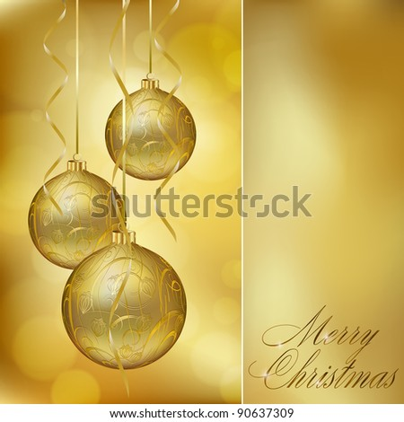 Abstract golden christmas postcard. Vector eps10 illustration