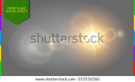 Abstract golden front sun lens flare translucent special light effect design. Vector blur in motion glow glare. Isolated transparent background. Decor element. Horizontal star burst rays and spotlight