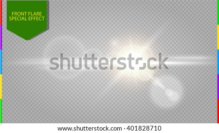 Abstract golden front sun lens flare transparent special light effect design. Vector blur  in motion  glow glare. Isolated on transparent background. Decor element. Star burst with rays and spotlight