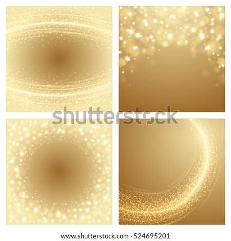 abstract golden light bokeh set