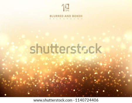 Abstract golden light glittering and bokeh background. Magic Gold Defocused Glitter Sparkles, light dots with copy space. Vector illustration
