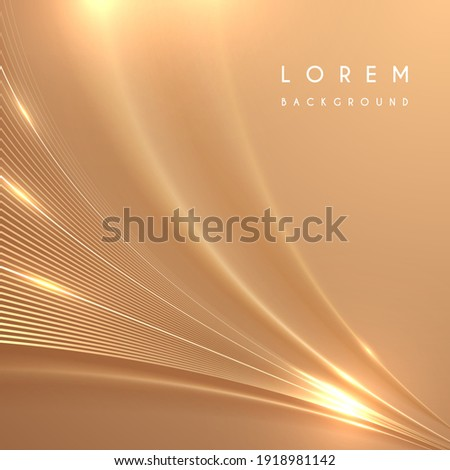 Abstract golden lines background with glow effect
