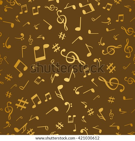 Abstract golden music notes seamless pattern background vector illustration for your design.