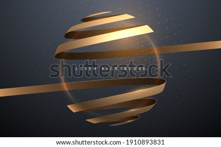 Abstract golden ribbons with light sphere effect background Foto stock ©
