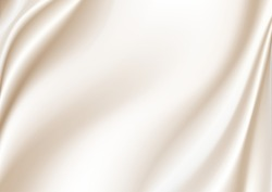 Abstract golden silk vector background luxury white cloth or liquid waveAbstract or white fabric texture background. Cloth soft wave. Creases of satin, silk, and Smooth elegant cotton.