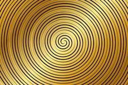 Abstract golden spiral vector background. Glowing spiral. Abstract background with circles. Trendy golden vortex element isolated for frame, icon, business sign, symbol, web, prints, posters, template