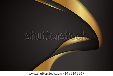 Abstract golden stripe and black waves texture background. Luxury vector design template for use corporate, business, element cover, banner, flyer, brochure, advertising. Layer on space #1453148369