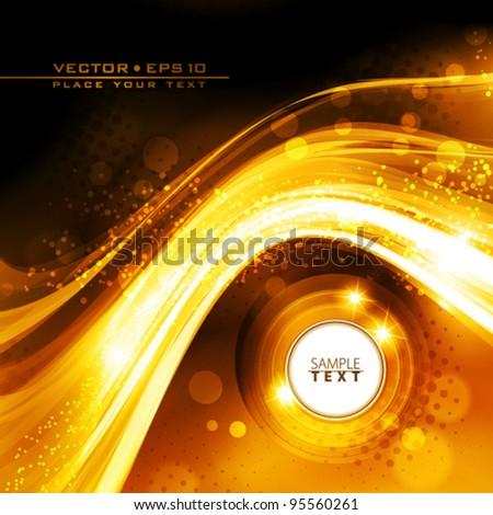 Abstract golden wave. Vector