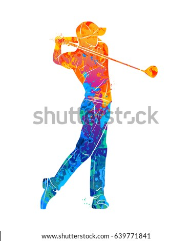 Abstract golf player from splash of watercolors. Vector illustration of paints.