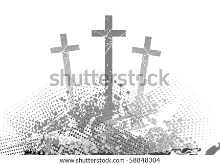 abstract golgotha with three