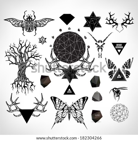 Abstract gothic sacral illustration with polygon crystal design element symbol sign for tattoo