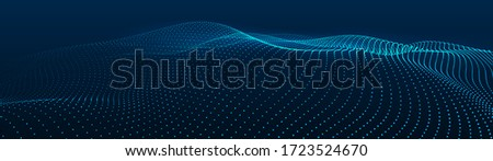 Abstract gradient dynamic wave of particles. Network of bright points or dots. Big data. Digital background. Vector ストックフォト ©