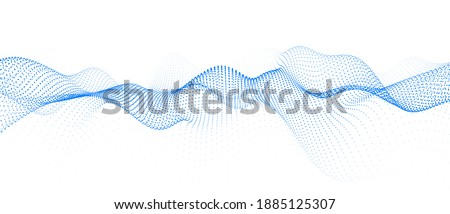 Abstract gradient dynamic wave of particles. Network of neon dots. Big data. Digital background. Vector Photo stock ©