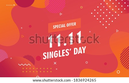 Abstract gradient singles day concept logo template Foto stock ©
