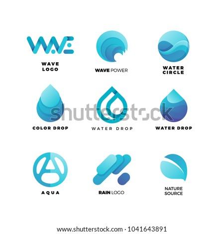 Abstract gradient water logo set. Aqua  wave geometric logo vector illustration. Nature elements, alternative energy and renewable energy logo.