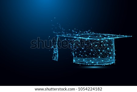 Abstract Graduation cap form lines and triangles, point connecting network on blue background. Illustration vector