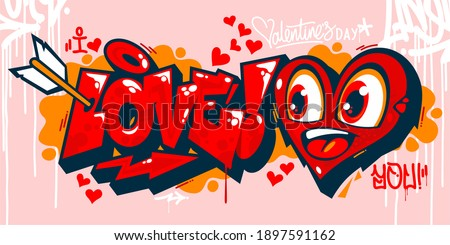 abstract graffiti style i love