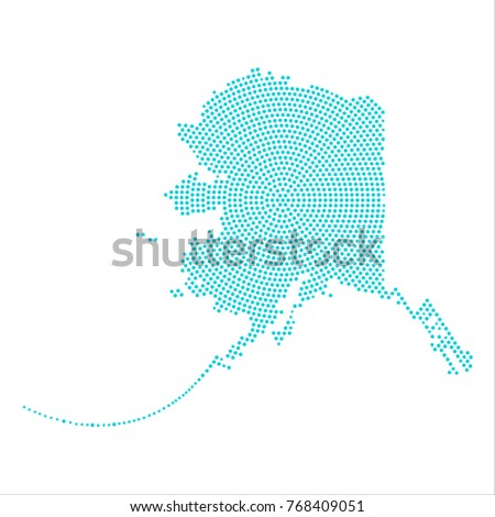 abstract graphic alaska map of