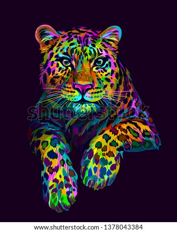 Abstract, graphic, colorful in neon colors artistic portrait of a leopard on a dark purple background. #1378043384