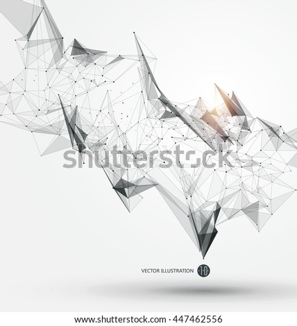 Abstract graphic consisting of points, lines and connection, Internet technology. #447462556