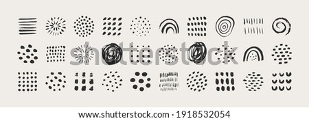 Abstract Graphic Elements in Minimal Trendy Style. Vector Set of Hand Drawn Texture for creating Patterns, Invitations, Posters, Cards, Social Media Posts and Stories Foto stock ©