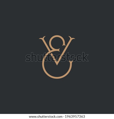 Abstract graphic illustration of monogram letters E and V Photo stock ©