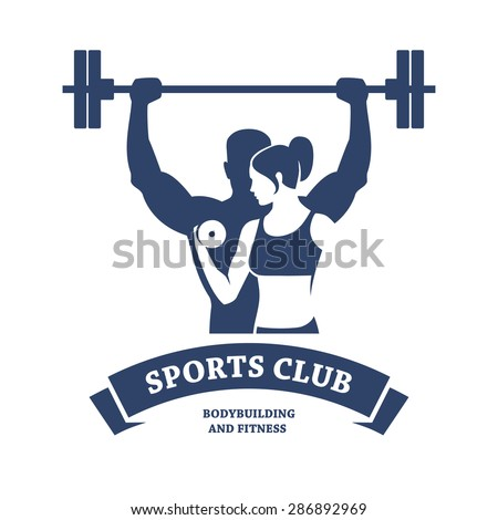 Abstract graphic illustration with silhouettes of man with barbell and woman with dumbbell as a design for logo, banner or poster for bodybuilding or fitness club. Isolated on white background.