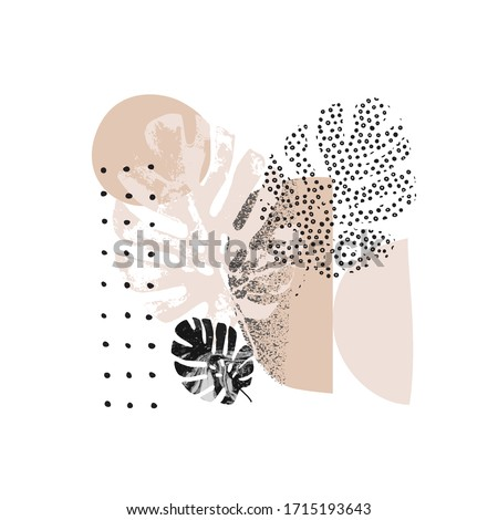 Abstract graphics summer background. Modern geo layout: geometric natural rounded shapes, grunge tropical leaf, grain texture in 80s, 90s minimal flat style. Geometric Scandinavian poster design.