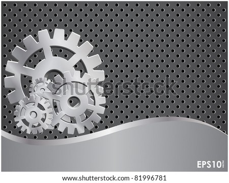 Abstract gray background with a metal gears and grid