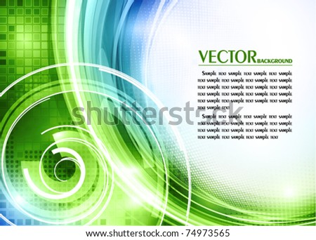 Abstract green and blue tech card with lighting effect. Vector