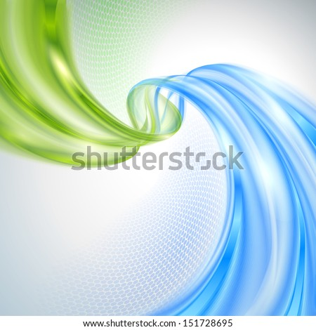 Abstract green and blue wave background Foto stock ©