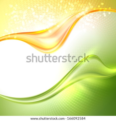 Stock Photo Abstract green and yellow waving background