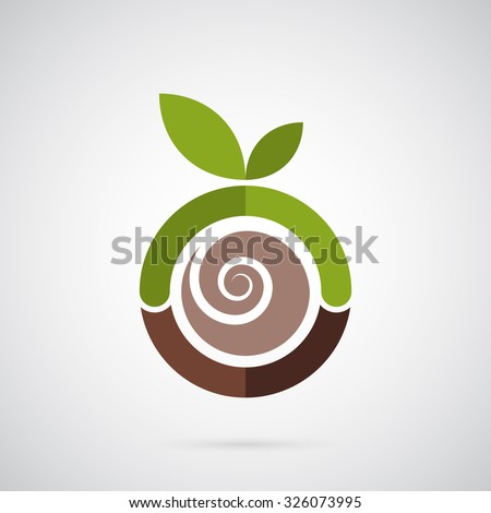abstract green apple logo