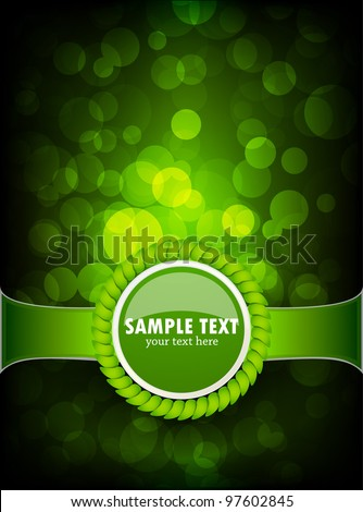 Abstract green background with circle and emblem