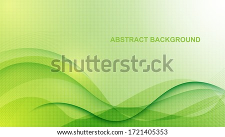 Abstract green background, with wavy design and hexagon texture. Vector illustration of EPS 10