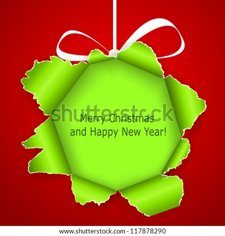 Abstract green Christmas ball made �¢??�¢??of torn paper on red background. Vector eps10 illustration