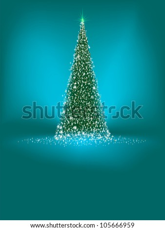 Abstract green christmas tree on blue background. EPS 8 vector file included