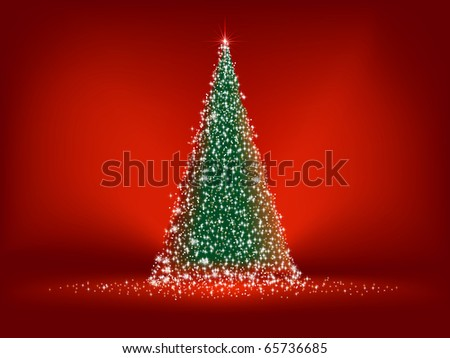 Abstract green christmas tree on red background. EPS 8 vector file included