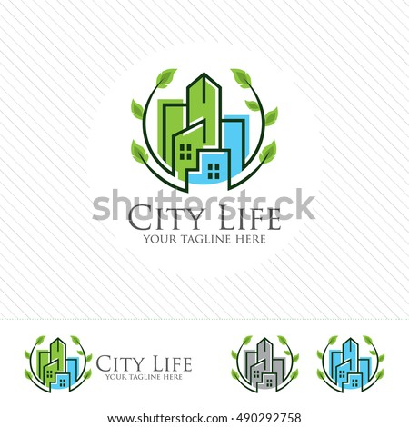 Abstract green city building logo design concept. Symbol icon of residential, apartment and city landscape.